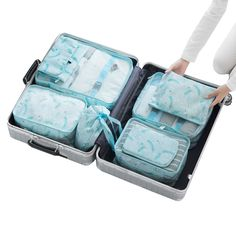 8Pcs Multi-function Travel Bag Sets Packing Cube Clothing Organizer Cosmetic Underwear Storage Bags Package Luggage Accessories #Affiliate