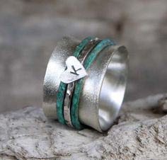 Silver spinner ring -Personalized ring - Sterling silver wide band with 2 spinner copper rings and 1 hammered silver ring