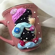 Polymer Clay Cake, Sculpey Clay, Porcelain Clay, Cold Porcelain, Pasta Fimo, Cute Mug, Biscuit, Yarn Ball, Pen Holders
