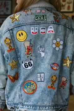 denim jackets with patches. i'm going to collect patches first before I can do this. bc theyre. expensive where i live.