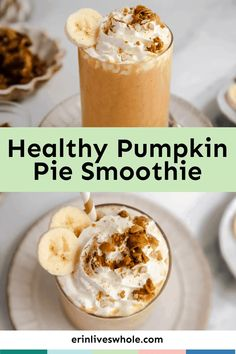 This healthy pumpkin pie smoothie is the perfect fall breakfast or a post-workout snack. It's creamy and filled with real pumpkin puree! Healthy Pumpkin Pies, Easy Pumpkin Pie, Homemade Pumpkin Pie, Pumpkin Spice Syrup, Pumpkin Puree, Fall Breakfast, Breakfast Recipes, Breakfast Ideas, Delicious Desserts