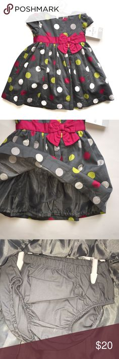 Carter's Special Occasion Dress-NWT-9 mo NWT gray polka dot Carter's dress features a petticoat layer (with tulle Ruffle on the petticoat) plus matching bloomers. Original retail price is $38. Simply beautiful dress-would be perfect for Easter or any other special occasion! Size 9 months.  Bundle and save! Carter's Dresses Formal