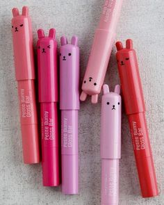 TONYMOLY Petite Bunny Gloss Bar - I actually have 2 of these, and they're super cute and give just a hint of color, definitely little appropriate Kawaii Makeup, Cute Makeup, K Beauty, Beauty Makeup, Korean Lipstick, Korean Makeup Brands, Lip Tint, Aesthetic Makeup, Korean Beauty