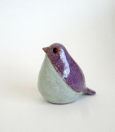 pottery bird purple gray by ecorock on Etsy, $25.00