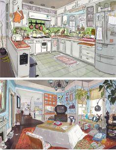 Scott Watanabe artes do filme Big Hero da Disney Environment Concept Art, Environment Design, Illustrations, Illustration Art, Bg Design, Drawn Art, Art Disney, Animation Background, Big Hero 6