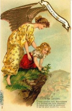 Cartão Postal francês, início do século XX, desejando que o anjo da guarda acompanhe seu protegido