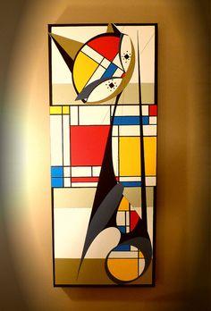 Original Large Canvas Mid Century Modern Mondrian Cat Atomic Cat Eames inspired Danish and Vintage Modern by Dominic Bourbeau Tableau Pop Art, Mondrian Art, Oil Pastel Paintings, Oil Pastels, Cubism Art, Mid Century Art, Modern Art, Vintage Modern, Minimalist Art