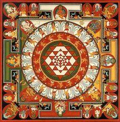 The Sri Yantra is an ancient Indian mandala depicting the vibrational form that rishis (seers) envisioned during meditation whilst chanting the seed syllable OM. Mandala Art, Motif Oriental, Indian Symbols, Yoga Symbols, Spiritus, Hindu Art, Buddhist Art, Sacred Art, Sacred Geometry