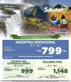 Especial Sudamérica  -Argentina Sensacional  -Perú Increíble Consulta Fechas de Salida
