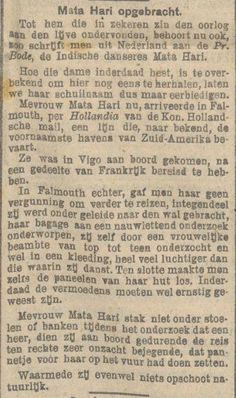 #MataHari | News of the Day in Dutch | January 30, 1917 | Mata Hari, Irena Sendler, Evelyn Nesbit, George Sand, Amelia Earhart, Iconic Women, Dutch, January, War