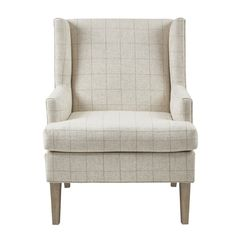 Classic armchair in windowpane plaid pattern, living room furniture, bedroom furniture, library furniture
