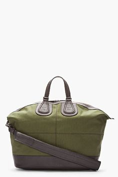 GIVENCHY Army green leather-trimmed Nightingale duffle bag (Approx. 22