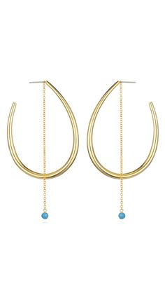 by Jules Smith  Edie hoops with turquoise stone Yellow Gold