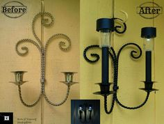 Solar Lighting: Cut the Cord!  More solar light ideas using thrifted lamps, sconces, candleholders & chandeliers.