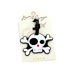 Joji Boutique - cartoon skull and crossbones luggage tag, $9.99 (http://www.jojiboutique.com/products/cartoon-skull-and-crossbones-luggage-tag.html)