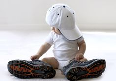 in daddy's shoes and hat! Love!