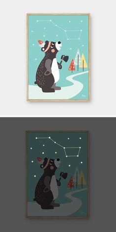"""NACHTLEUCHTENDES Poster Großer Bär / glow in the dark poster """"great bear"""" by Julica"""