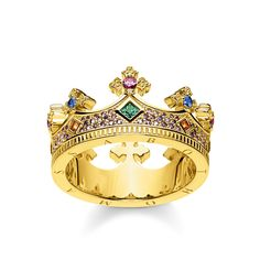 Thomas Sabo Gold Crown Ring, One Colour, Size Small, Women - One Colour - Small Gold Gold, Thomas Sabo Bague, Argent Sterling, Sterling Silver, James Jewelry, Royal Colors, Queen, Jewelry Packaging, Diamond Wedding Bands