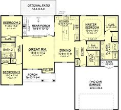 1,609 sq ft (+ 529 sq ft garage) - love the great rm/kitchen/DR  (expand front porch & make enry/foyer combine w/ DR instead of Grt Rm