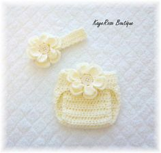 Newborn Baby Crochet Flower Headband & Diaper Cover by Sockmonkey7, $17.95