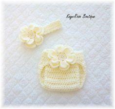 Newborn Baby Crochet Flower Headband & Diaper Cover by Sockmonkey7, $17.95