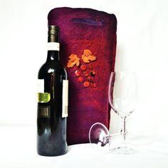 Wine Bag Felt Burgundy Purple and Rust  Hand by juliaheartfelt