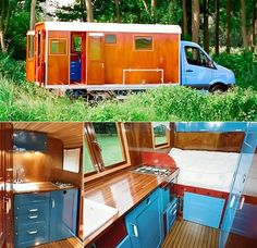 Modern Gypsy Caravan. In as little as 15 minutes, the camper unit can be removed from the vehicle, allowing for placement in a garden as a guest cottage or inspirational workplace.