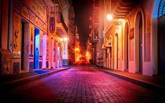 Download wallpapers San Juan, Puerto Rico, capital, night, streets, lights, city lights