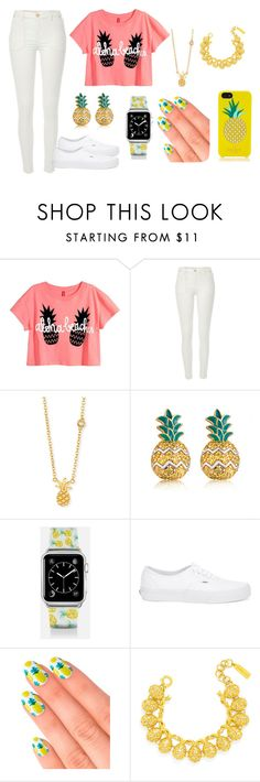 """#PINEAPPLES"" by kylachandler ❤ liked on Polyvore featuring River Island, Sydney Evan, MBLife.com, Casetify, Vans, Elegant Touch, BaubleBar and Kate Spade"