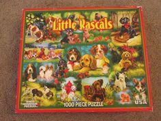 Little Rascals Puzzle White Mountain 1000 piece Dogs Linda Picken COMPLETE!!! #WhiteMountain
