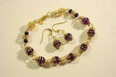 Amethyst gemstone beads with gold plated spirals - Bracelet & Earring set £27.50 with FREE Delivery!