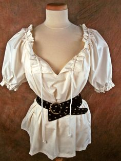 Cream off-white cotton (or ANY color) ruffle DRAWSTRING - Renaissance Medieval shirt chemise -. $28.00, via Etsy.