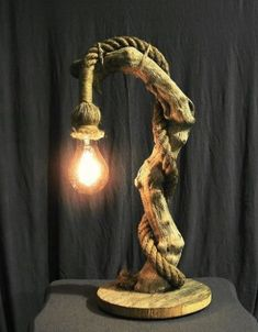 Driftwood Lamp - Natural Rope Cord - Edison Bulb - Beautiful Beach Decor - Source by andreakraehe decoration wood lamp decor lamp Driftwood Lamp, Driftwood Projects, Rope Lamp, Lampe Decoration, Rustic Lamps, Stage Decorations, Wooden Lamp, Woodworking Projects Diy, Diy Home Crafts
