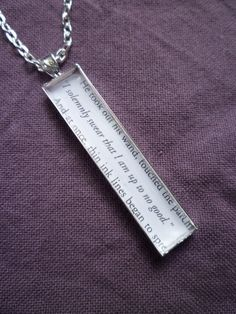 """Harry Potter Jewelry- """"I solemnly swear that I am up to no good."""" Book Page Jewelry, Silver Necklace"""