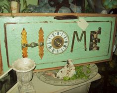 home sign made from junk
