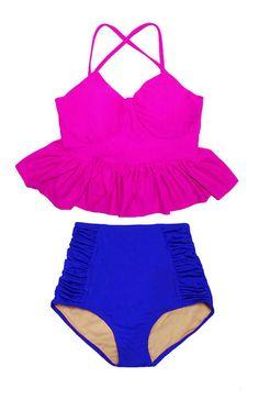 Retro High Waisted Bikini, Swimsuit Pattern, Tankini Top, Swimsuits, Swimwear, Hot Pink, Peplum, Trending Outfits, Clothes For Women