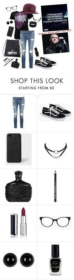 """""""In Memory of Chester Bennington"""" by grace-buerklin ❤ liked on Polyvore featuring rag & bone/JEAN, J.Crew, Paul Smith, John Varvatos, NYX, Givenchy, Chico's, Candela, Barry M and LinkinPark"""