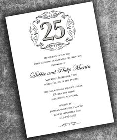 Wedding Anniversary Invitation #silverinvitation