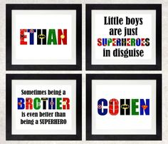 Brothers Superhero Art Print Set // Twin Boys Superhero Art // Being A Brother is Even Better Than Being A Superhero // Superhero Name Art Adoption Party