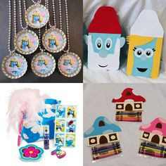 """Send lil guests home with a Smurfs' favor bag filled with all sorts of """"blue"""" goodies - like Smurfs' bottle cap necklaces, coloring packs, stickers Circus Birthday, 6th Birthday Parties, Birthday Bash, Birthday Ideas, Party Packs, Party Time, Smurfs, Party Supplies, Party Favors"""