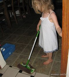 Simple things like adapting cleaning supplies to make them more child-friendly goes a long ways towards getting kids involved with household chores!