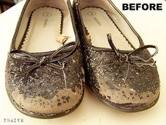these were the shoes. enter Krylon Glitter Blast spray paint. um, yes, this could be the beginning to a long and beautiful relationship :)