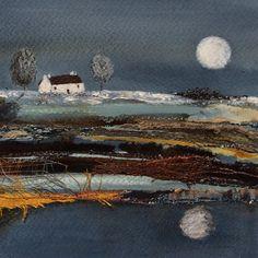 "Mixed Media Art By Louise O'Hara - ""A light snowfall"" Painted Paper, Hand Painted, Textiles, Detail Art, Textile Artists, Medium Art, Mixed Media Art, Sculpture Art, Fiber Art"