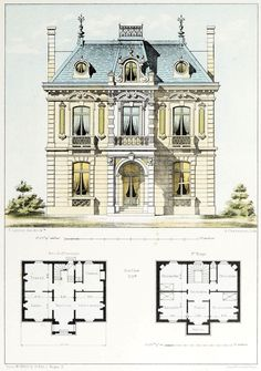 Design for a country house near Paris Modern House Design Country design House Paris Sims Building, Building Layout, Building A House, Building Ideas, Victorian House Plans, Vintage House Plans, Architecture Mapping, Architecture Plan, Architecture Courtyard