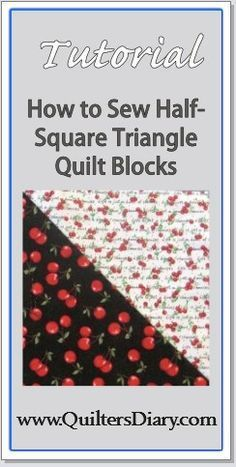 Sewing Half-Square Triangle Quilt Blocks from Fabric Squares — Tutorial by CDMWRITER in EASY/BEGINNER QUILT BLOCKS-This is an easy method for making half-square triangle blocks from two fabric squares. Each set of two squares will make two mirror-image triangle blocks. This technique is the one to use if you want to make a few blocks each from a number of different fabrics.