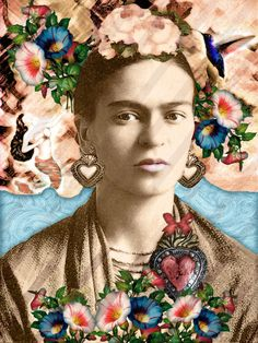 22 Frida Kahlo Collage Digital Instant download. Vintage