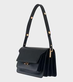 Marni - Medium Trunk Bag Black Summer Handbags, Black Crossbody Purse, Black Purses, Black Cross Body Bag, Cloth Bags, Medium Bags, Handbag Accessories, Fashion Bags, Marni