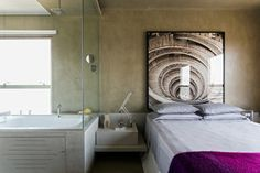 This Brazilian Architect Has An Impressive Way With Interiors #refinery29  http://www.refinery29.com/design-milk/15#slide14  The spa-like bathroom is open to the bedroom.