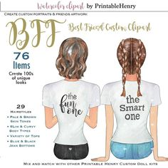 Best friends clipart custom portrait creator COMMERCIAL LICENSE make you own BFF soul sisters watercolor diy portraits PrintableHenry Watercolor Images, Watercolor Portraits, White Tee Shirts, White Tees, Friends Clipart, Smart Hairstyles, Soul Sisters, Different Hairstyles, Black Crop Tops