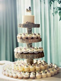 Country Wedding Cakes Rustic Cupcake Tower - 23 Rustic Wedding Cakes to Complement Your Theme . Wedding Cake And Cupcake Stand, Wood Cupcake Stand, Rustic Cupcake Stands, Rustic Cupcakes, Cupcake Tree, Wedding Cakes With Cupcakes, Large Cupcake, Small Cake, Cupcake Stands For Weddings